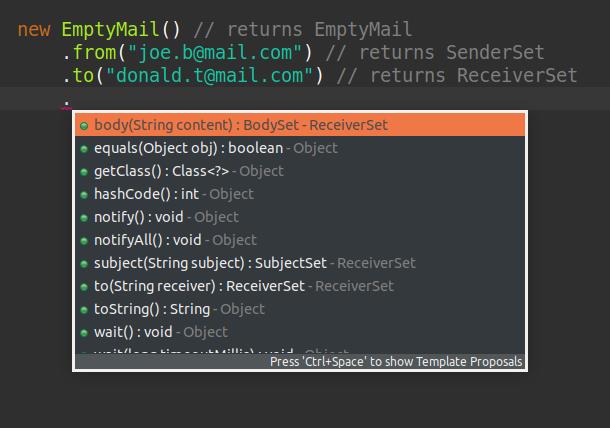 `MailBuilder` fluent API auto-completion